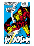 Marvel Comics Retro: The Invincible Iron Man Comic Panel, Fighting and Shooting, Shoosh! Poster