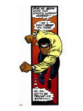 Marvel Comics Retro: Luke Cage, Hero for Hire Comic Panel, Charging Stretched Canvas Print