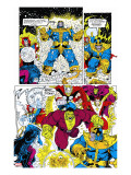 Infinity Gauntlet No.6 Group: Thanos, Hulk, Thor and Dr. Strange Stretched Canvas Print by George Perez