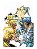 X-Force Volume 2 No.3 Cover: Shatterstar, Sunspot, Cable and X-Force Stretched Canvas Print by Liefeld Rob