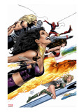 Ultimate Power No.9 Cover: Wasp, Human Torch and Power Princess Stretched Canvas Print by Land Greg