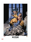 Wolverine Lithograph: Wolverine Stretched Canvas Print by Lee Jim