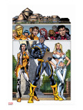 New X-Men No.3 Group: Cyclops, Emma Frost, Moonstar and Danielle Stretched Canvas Print by Staz Johnson