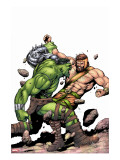 Incredible Hulk No.107 Cover: Hulk and Hercules Stretched Canvas Print by Frank Gary