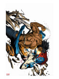 Wolverine No.65 Cover: Wolverine and Mystique Stretched Canvas Print by Ron Garney