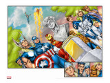 Onslaught Reborn No.5 Group: Captain America, Iron Man, Thor, Invisible Woman and Mr. Fantastic Stretched Canvas Print by Liefeld Rob