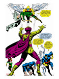 X-Men No.50 Group: Mesmero, Angel, Cyclops, Iceman, Beast, X-Men and Marvel Girl Stretched Canvas Print by Jim Steranko