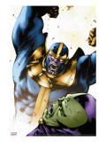Drax The Destroyer No.2 Cover: Thanos and Drax The Destroyer Stretched Canvas Print by Mitchell Breitweiser