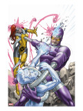 X-Men: First Class No.14 Cover: Machine Man, Iceman and Marvel Girl Fighting Stretched Canvas Print by Roger Cruz