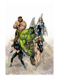 Incredible Hulk No.109 Cover: Hulk, Namora, Hercules, Angel, Black and Carmilla Stretched Canvas Print by Carlo Pagulayan