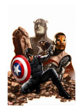 Captain America No.27 Cover: Captain America, Winter Soldier and Falcon Stretched Canvas Print