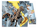 Alpha Flight No.8 Group: Major Mapleleaf, Storm, Thor and Human Torch Stretched Canvas Print by Ross Dave
