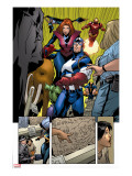 Marvel Adventures The Avengers No.14 Group: Captain America Stretched Canvas Print by Kirk Leonard