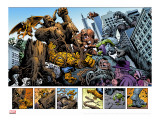 Marvel: Monsters On The Prowl No.1 Group: Hulk, Thing, Groot, Fin Fang Foom and Grogg Stretched Canvas Print by Fegredo Duncan