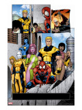 Exiles No.56 Group: Spider-Man, Mimic, Morph, Blink, Namora and Exiles Stretched Canvas Print by Calafiore James