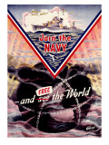 WWII US Navy 'Join the Navy' Mine sweeper Poster Prints