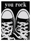 You Rock Black Sneakers Giclee Print by Lisa Weedn