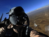 US Air Force Aerial Combat Photographer Watches for Threats to a F-15E Strike Eagle Photographic Print