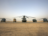 US Military Vehicles and Aircraft Lined Up on the Taxiway at Camp Speicher, Iraq Photographic Print