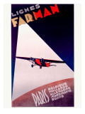 Farman Paris Airline Poster Giclee Print