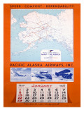 Pacific Alaska Airways Airline Poster Giclee Print