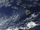 Satellite View of Volcanic Fog from Kilauea Volcano Swirling around the Hawaiian Islands Photographic Print