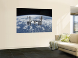 The International Space Station in Orbit Above the Earth Wall Mural