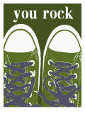 You Rock Green Sneakers Posters by Lisa Weedn