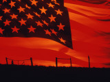 Digital Composite of the American Flag over the Countryside Fotografie-Druck
