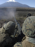Marines Fire an M2 50 Caliber Machine Gun Photographic Print
