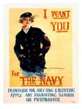 WWII US Navy Recruiting Poster Digitálně vytištěná reprodukce