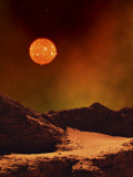 A Rugged Planet Landscape Dimly Lit by a Distant Red Star Photographic Print