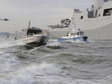 Crews from the Coast Guard and Police Departments Escort Uss New York into New York Harbor Photographic Print