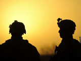 US Army Soldiers Silhouetted Against the Morning Sun in Afghanistan Photographic Print