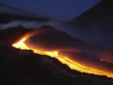 Mount Etna Lava Flow at Night, Sicily, Italy Photographic Print
