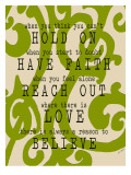 Hold on Green Swirl Print by Lisa Weedn