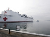 The Military Sealift Command Hospital Ship Usns Comfort Pulls Away from Canton Pier Photographic Print