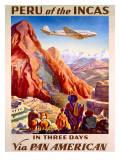 Pan American Peru of the Incas Poster Giclée-tryk