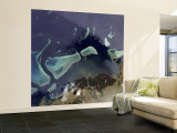 Deep Green Forest on Land and the Delicate Turquoise Coral Reef in the Ocean of Viti Levu, Fiji Wall Mural – Large