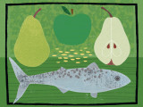 Pear, Apple and Fish Poster by Jessie Ford