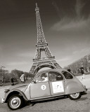 2CV with Eiffel Tower Print by Elan Fleischer