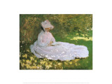 A Woman Reading Posters by Claude Monet