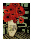 Poppies on Table with Chairs Posters by Karen Tusinski