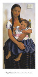 Delfina Flores and her Niece Modesta Art by Diego Rivera