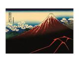 Katsushika Hokusai - Lightning Below the Summit Plakát