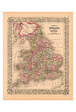 County Map of England and Wales, c.1867 Prints
