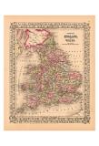 Karta över England och Wales med grevskap, ca1867 Affischer
