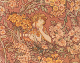 Redhead Among Flowers Poster von Alphonse Mucha