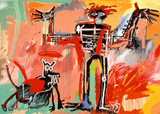 Boy and Dog in a Johnnypump Poster by Jean-Michel Basquiat