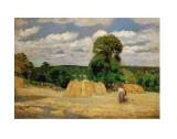 The Harvest, c.1876 Kunst af Camille Pissarro